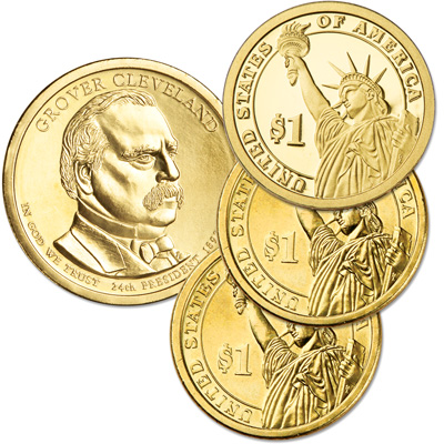 Image for 2012 PDS Grover Cleveland (Term 2) Presidential Dollar Set (3 coins) from Littleton Coin Company