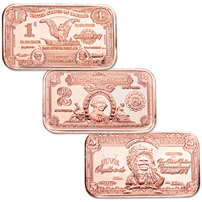 Image for Three 1 oz. 99.9% Pure Copper Currency Ingots from Littleton Coin Company