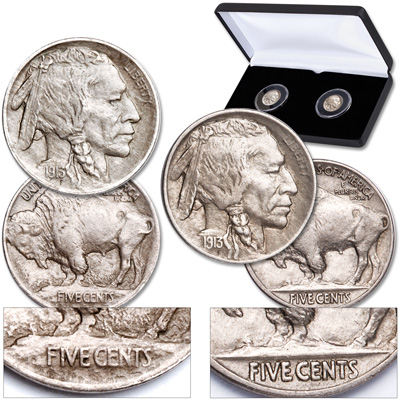 Image for 1913 Type 1 & Type 2 Buffalo Nickel Set in Display Case from Littleton Coin Company