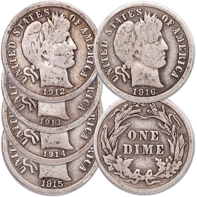Image for 1912-1916 Last Five Years Barber Dime Set from Littleton Coin Company