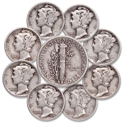 Image for 1930-1939 Mercury Dime Year Set (8 coins) from Littleton Coin Company