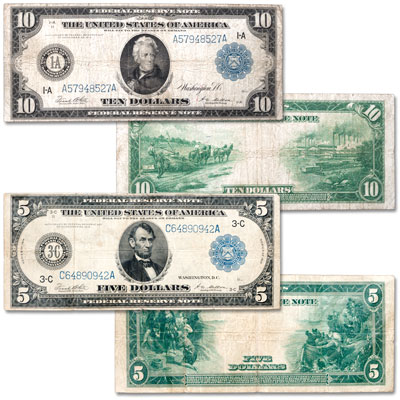 Image for Series 1914 $5 & $10 Federal Reserve Note Set from Littleton Coin Company