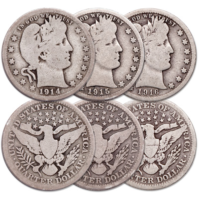 Image for 1914-1916 Last 3 Years Barber Quarter Set from Littleton Coin Company