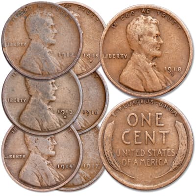 Image for 1912-1918 Consecutive Dated Lincoln Cent Set from Littleton Coin Company