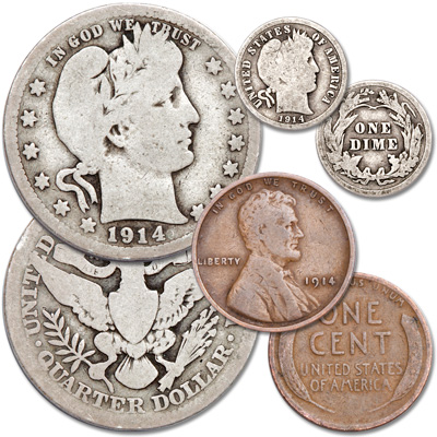 1914 century old u s coin set 3 coins littleton coin company