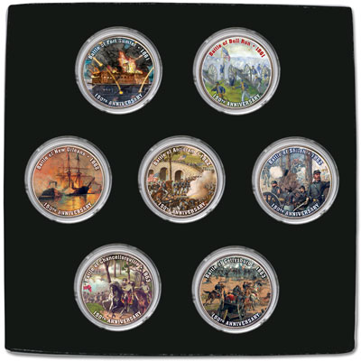 Image for 2011-2013 Colorized Civil War Kennedy Half Dollar Set (7 coins) from Littleton Coin Company