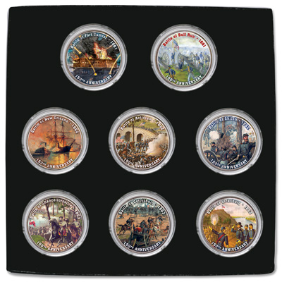 Image for 2011-2013 Colorized Civil War Kennedy Half Dollar Set (8 coins) from Littleton Coin Company