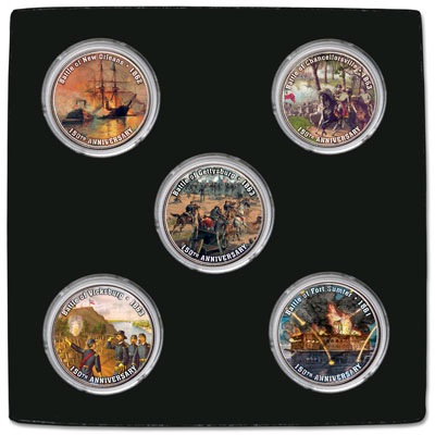 Image for Civil War Battles Colorized Kennedy Half Dollar Set from Littleton Coin Company