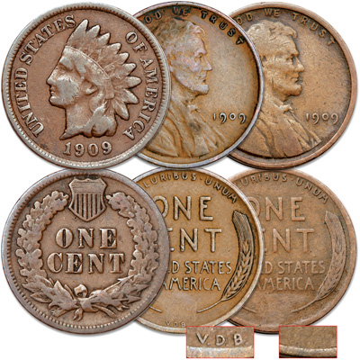 Image for 1909 Indian Head & Lincoln Cents Set (3 coins) from Littleton Coin Company