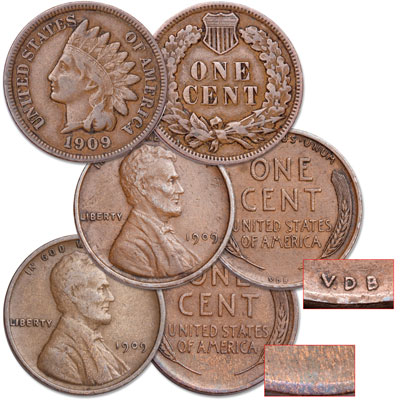 Image for 1909 Indian Head & Lincoln Cent Set (3 coins) from Littleton Coin Company