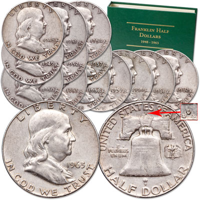 "Image for 1948-1963 Complete ""D"" Mint Franklin Half Dollar Set with Album from Littleton Coin Company"