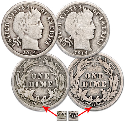 Image for 1914 P&D Barber Dime Set from Littleton Coin Company