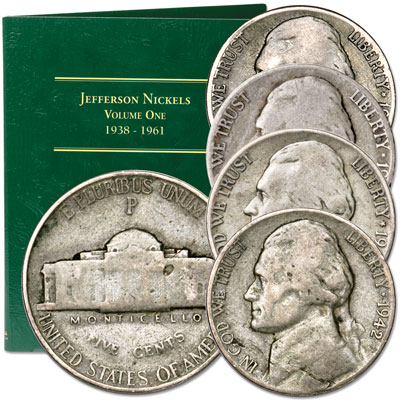 Image for 1942-1945 Jefferson Wartime Nickel Set (4 coins) with Folder from Littleton Coin Company
