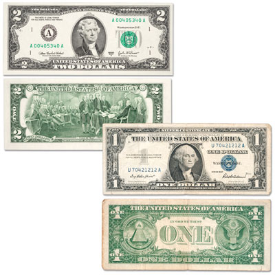 Image for 2003A $2 Federal Reserve Note and 1957 $1 Silver Certificate Set from Littleton Coin Company