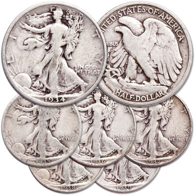 Image for 1934-1939 Liberty Walking Half Dollar Set (6 coins) from Littleton Coin Company