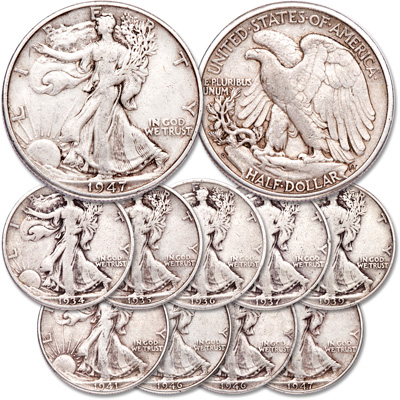 Image for 1934-1947 Liberty Walking Half Dollar Set from Littleton Coin Company