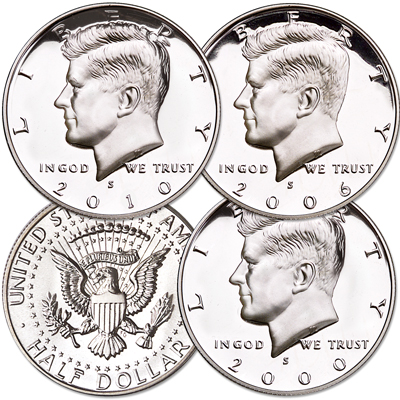 Image for 2000-S - 2010-S 90% Silver Kennedy Half Dollar Set (3 coins) from Littleton Coin Company