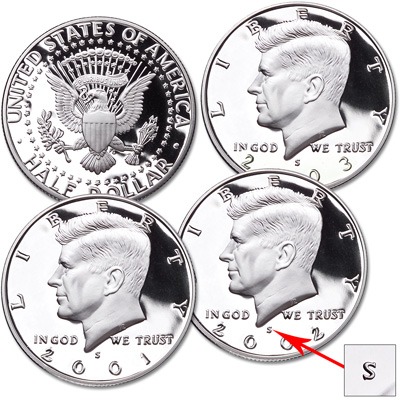 Image for 2001-2003-S 90% Silver Kennedy Half Dollar Set (3 coins) from Littleton Coin Company