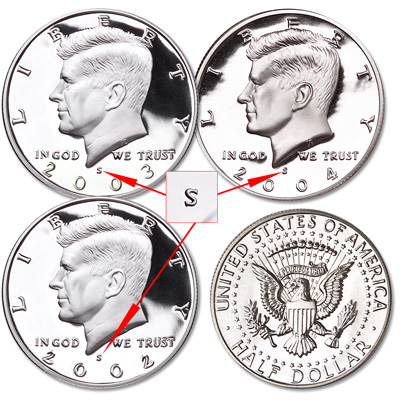Image for 2002-2004-S 90% Silver Kennedy Half Dollar Set (3 coins) from Littleton Coin Company