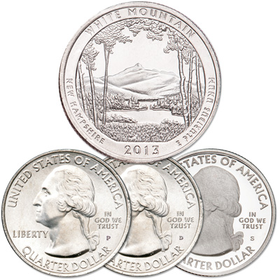 Image for 2013 PDS White Mountain National Forest Quarter Set from Littleton Coin Company
