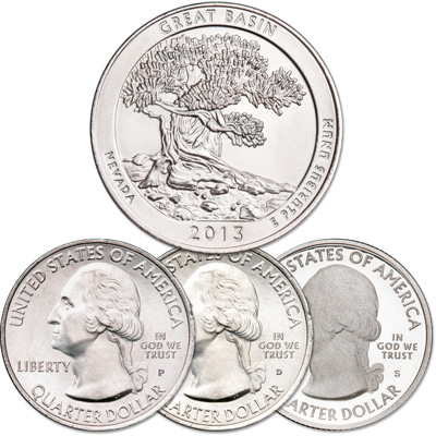 Image for 2013 PDS Great Basin National Park Quarter Set from Littleton Coin Company