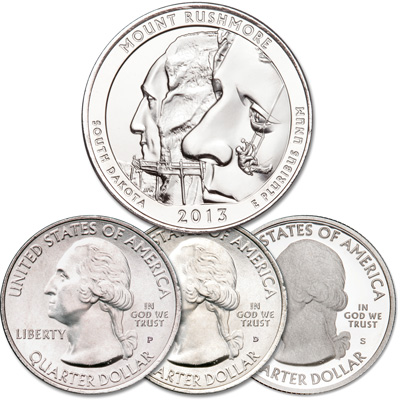 Image for 2013 PDS Mount Rushmore National Memorial Quarter Set from Littleton Coin Company