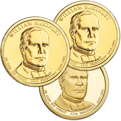 Image for 2013 PDS William McKinley Presidential Dollar Set (3 coins) from Littleton Coin Company