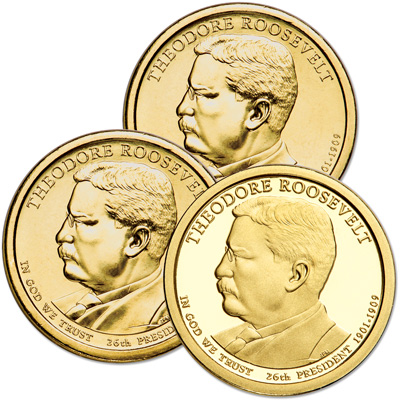 Image for 2013 PDS Theodore Roosevelt Presidential Dollar Set (3 coins) from Littleton Coin Company