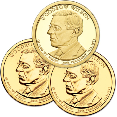 Image for 2013 PDS Woodrow Wilson Presidential Dollar Set (3 coins) from Littleton Coin Company