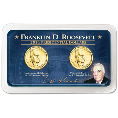 Image for 2014 P&D Franklin D. Roosevelt Presidential Dollar Showpak from Littleton Coin Company