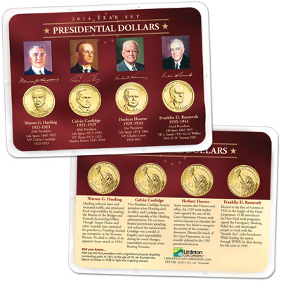 Image for 2014 Presidential Dollar Year Set in Showpak (4 coins) from Littleton Coin Company