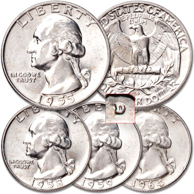 Image for 1955-1964 Four D-Mint Washington Silver Quarters from Littleton Coin Company