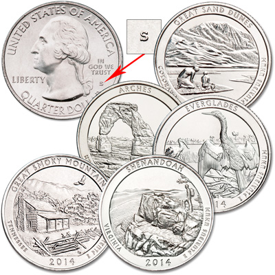 Image for 2014-S Unc. National Park Quarter Year Set (5 coins) from Littleton Coin Company