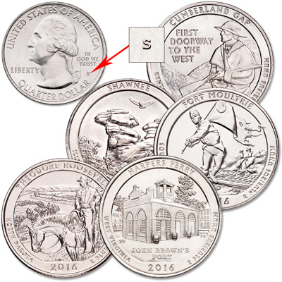 Image for 2016-S Unc. National Park Quarter Year Set from Littleton Coin Company
