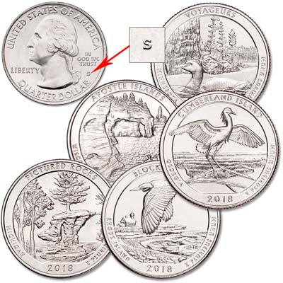 Image for 2018-S Unc. National Park Quarter Year Set from Littleton Coin Company