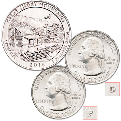 Image for 2014 P&D Great Smoky Mountains National Park Quarter Set from Littleton Coin Company