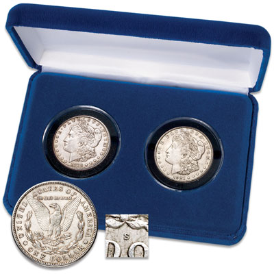 "Image for 1878-S & 1921-S First & Last ""S"" Mint Morgan Dollar Set from Littleton Coin Company"