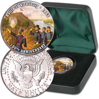 Image for 2013 Colorized Civil War Kennedy Half Dollar Battle of Vicksburg from Littleton Coin Company