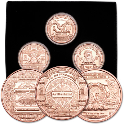 Image for 1 oz. Copper Rounds Set (3 coins) from Littleton Coin Company