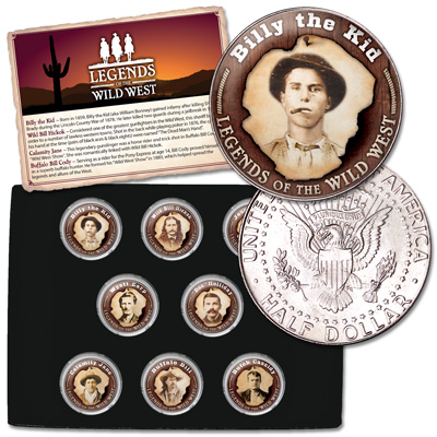 Image for Legends of the Wild West Colorized Kennedy Half Dollar Set from Littleton Coin Company