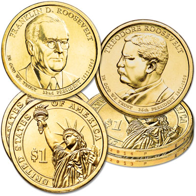 Image for 2013-2014 Theodore & Franklin D. Roosevelt Presidential Dollar Set from Littleton Coin Company