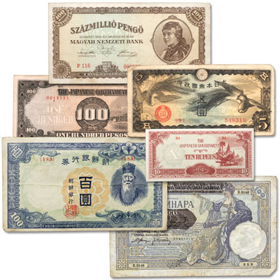 Image for 1940-1949 World Bank Note Set (6 notes) from Littleton Coin Company