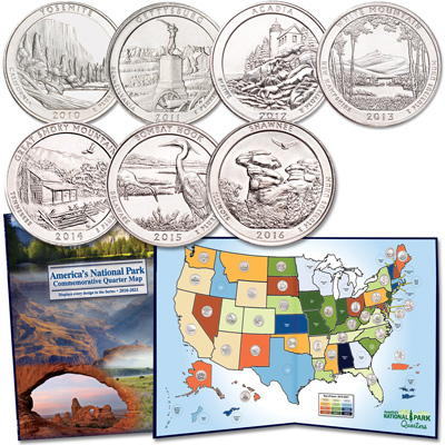 Image for 2010-2016 National Park Quarter Set with Map Folder from Littleton Coin Company