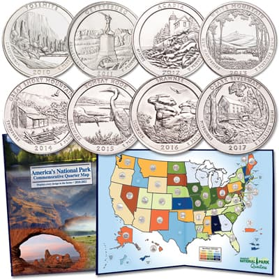 Image for 2010-2017 National Park Quarter Set with Map Folder from Littleton Coin Company