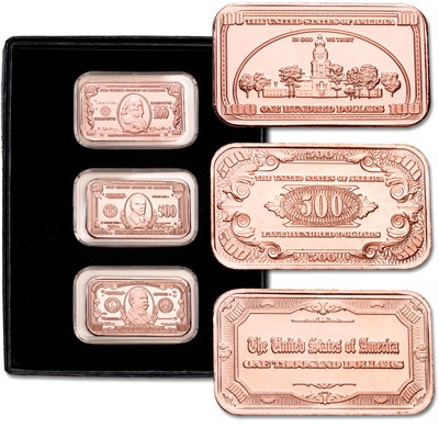 Image for High Denomination Notes Copper Ingot Set from Littleton Coin Company