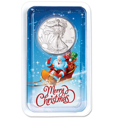 Image for 2018 Silver American Eagle in Merry Christmas Showpak from Littleton Coin Company