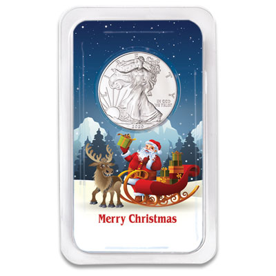 Image for 2020 Silver American Eagle in Merry Christmas Showpak from Littleton Coin Company