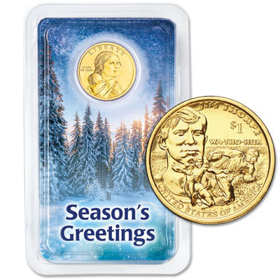 Image for 2018 Native American Dollar in Season's Greetings Showpak from Littleton Coin Company