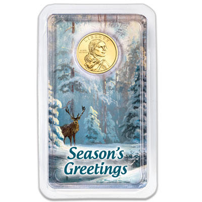 Image for 2019 Native American Dollar in Season's Greetings Showpak from Littleton Coin Company