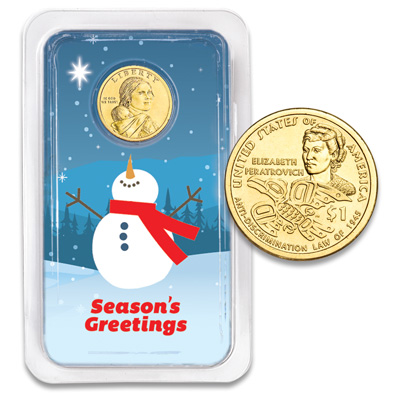 Image for 2020 Native American Dollar in Season's Greetings Showpak from Littleton Coin Company